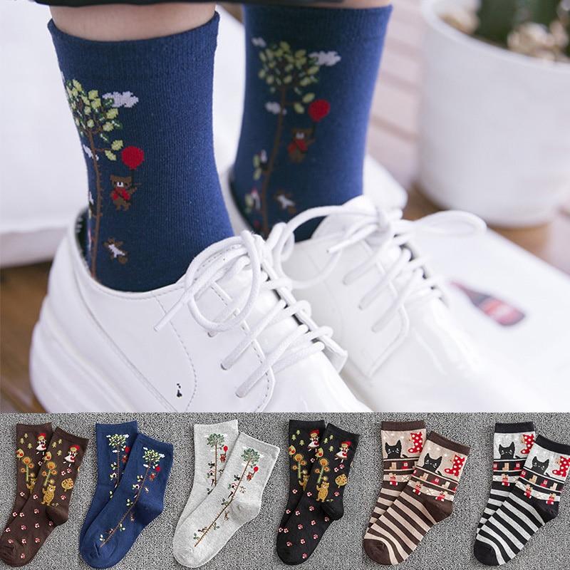 New High Quality Women Fashion Plant Art Funny Socks Winter Cotton Striped Cartoon Animal Cat Socks Female Novelty Crew Socks