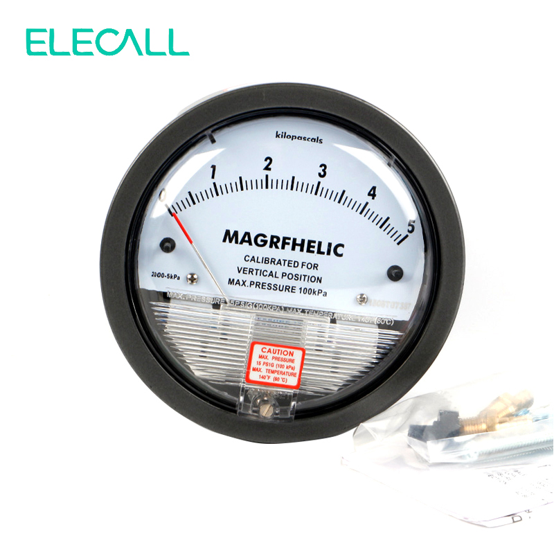 ELECALL TE2000 0-5KPA Micro Differential Pressure Gauge High Precision 1/8 NPT Round Type Pointer Instrument Micromanometer te2000 500pa 500pa micro differential pressure gauge high