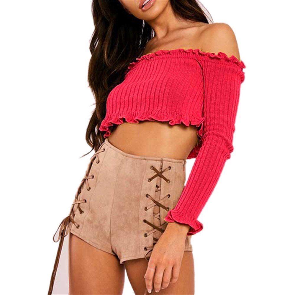 2018 Sexy Off Shoulder Kintted T Shirt Women Crop Tops Long Sleeve Slim Nightclub Cropped Top Summer Elastic Tube Tees Shirts