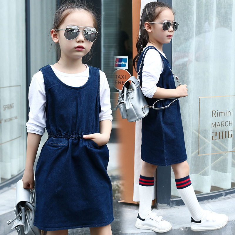 Spring Summer Teenage Fashion Child Vest Style Denim Dress Dark Blue Colored Cotton Dresses Children Clothing