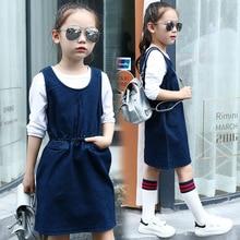 Printemps Été Mode Chez Les Adolescentes Enfant Gilet Style Denim Robe Bleu Foncé Coton de couleur Robes Vêtements Pour Enfants 4 6 8 10 12 ans