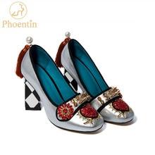 Phoentin püskül kadın ayakkabısı hakiki deri perçin kadın topuklu 5.5cm ve 8cm 2020 kristal çiçek pompaları üzerinde kayma bayanlar FT621
