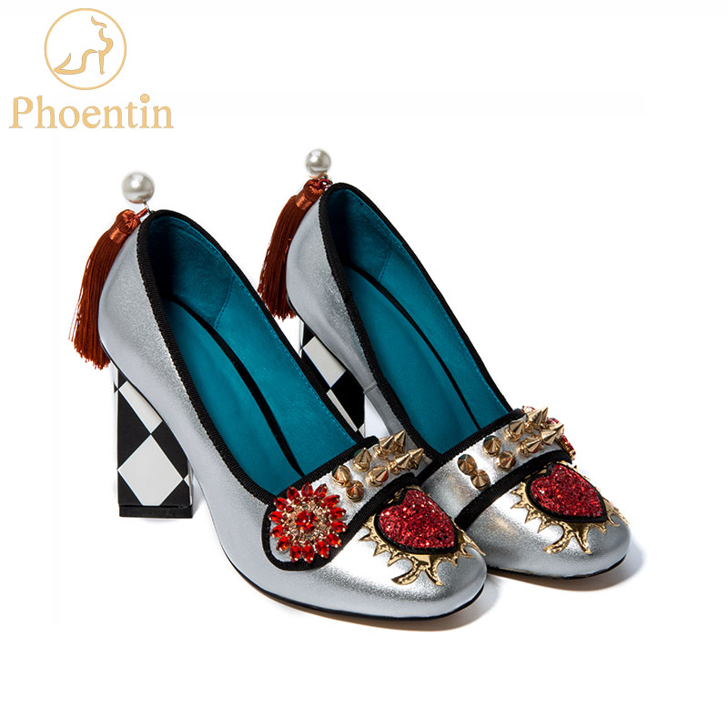 Phoentin Tassel Women's Shoes From Genuine Leather Rivet Woman Heels 5.5cm & 8cm 2019 Crystal Flower Slip On Pumps Ladies FT621