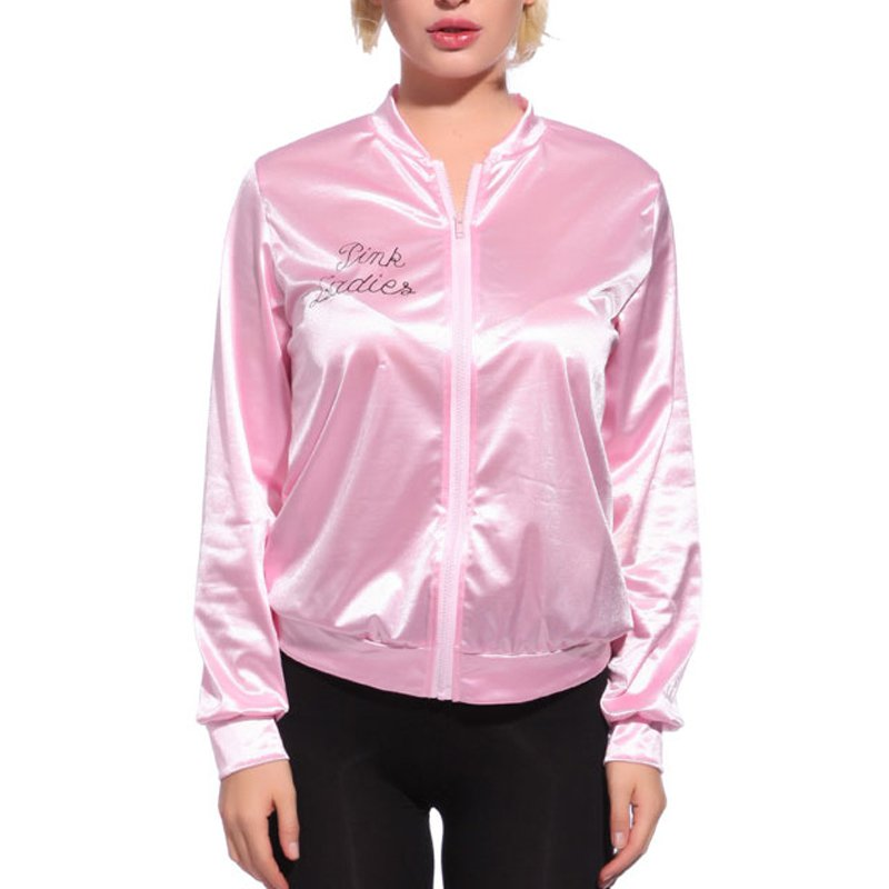1pcs Women Pink   Basic   Women Grease Tracksuit Newest Sexy Costume   Jacket   Dress Solid Coats Retro   Jackets   Fancy