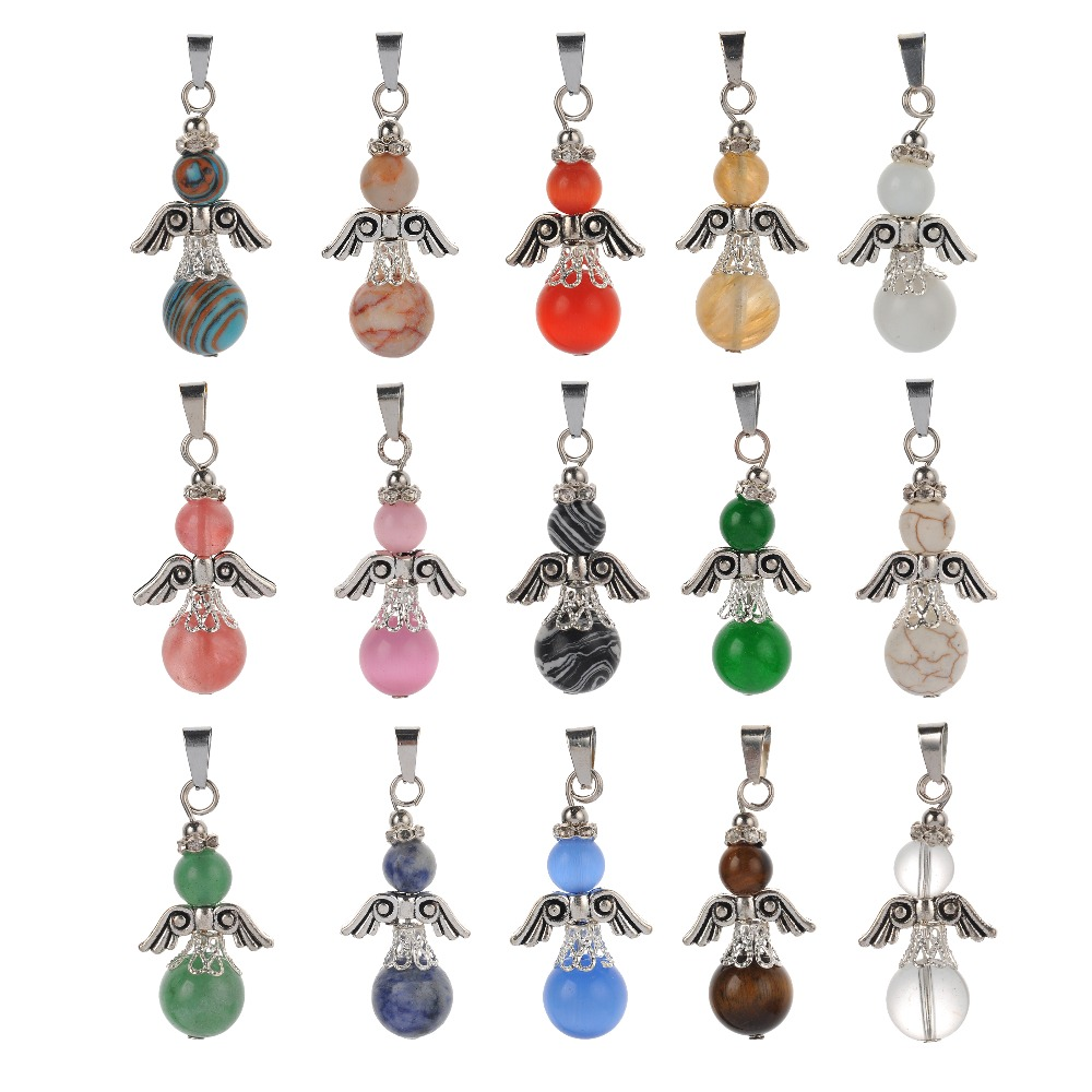 1pc MultiColor Round Beads Baby Angel Wings Natural Lapis Amethysts Crystal Quartz Stone Pendant For DIY Necklace Jewelry Making