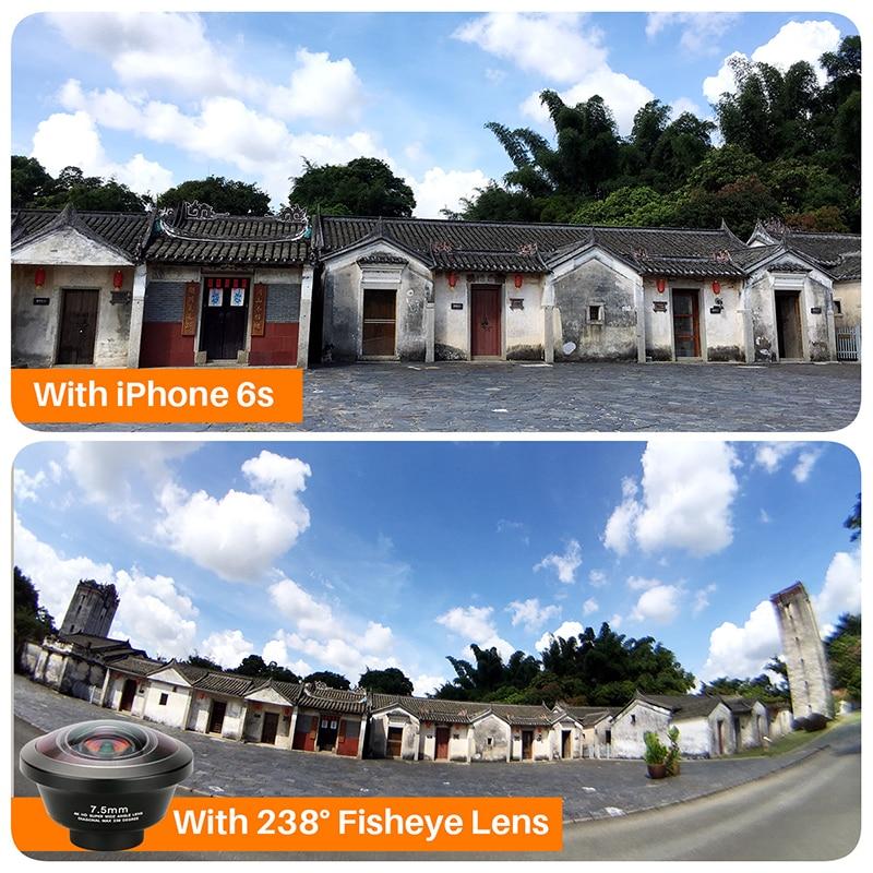 Image 5 - Ulanzi 238 Degree Fisheye HD Lens 0.2X Wide Angle Lens for iPhone  X 7 6 Samsung Huawei Xiaomi 4K HD Clip On Camera Phone Lenslens for  iphonefisheye lensangle lens
