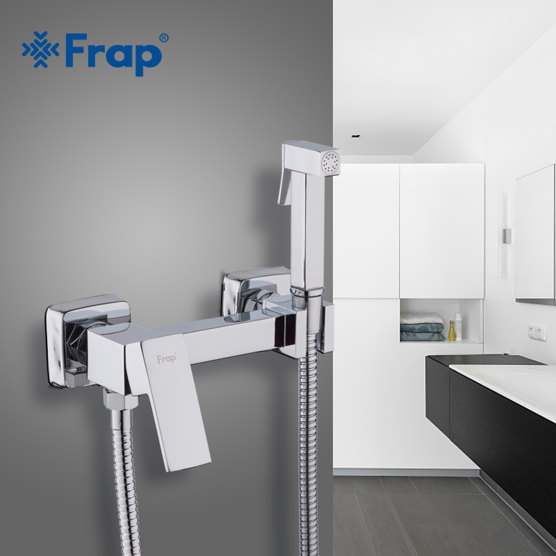 Frap new Solid Brass Chrome Handheld Bidet Toilet Portable Bidet Shower Set With Hot and Cold Water Bidet faucet Mixer F7504 free shipping brand new brass bidet