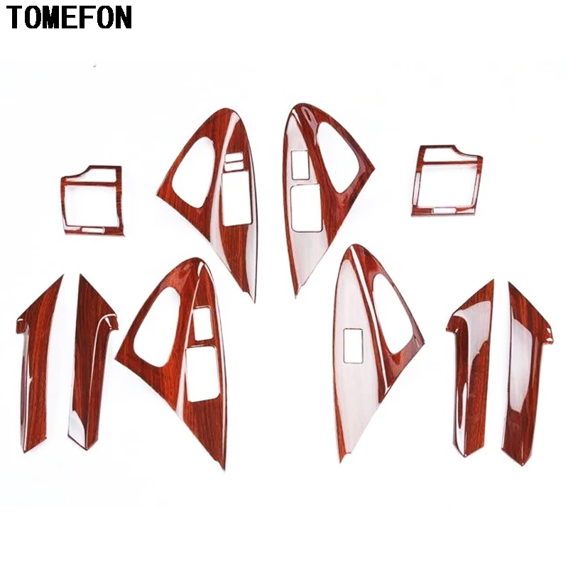 TOMEFON For Toyota Camry 2006-2011 ABS Wood Paint Interior AC Vent Steering Wheel Window Switch Bottons Inner Handle Cover 10pcs