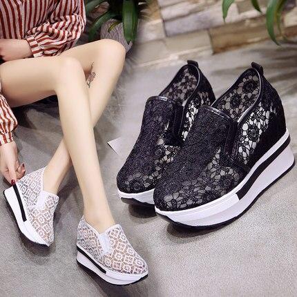 Dropshipping Mesh Breathable Shoes Women Platform Heels Casual Shoes Women 2019 Wedges Shoes Whatsapp + 8613586826522 XYZ164