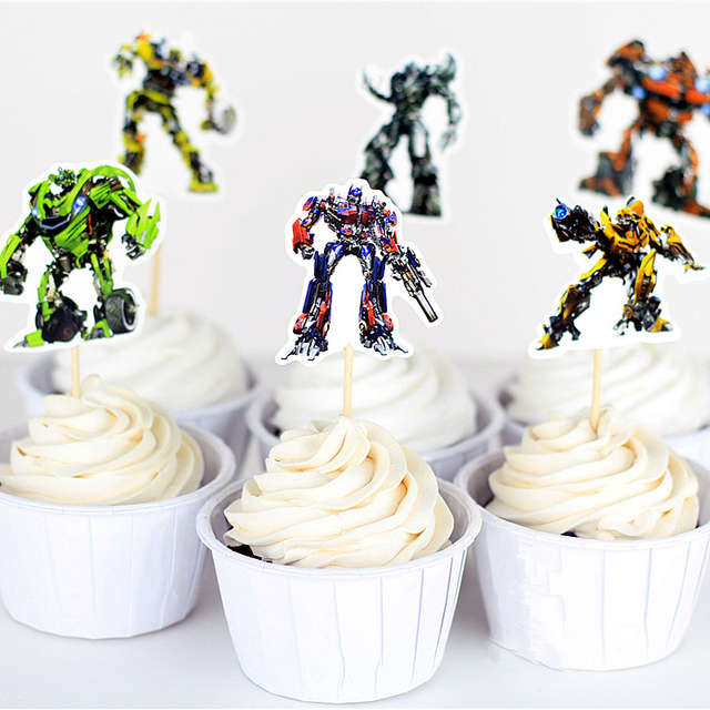 24pcs Cupcake Topper Picks BOY Birthday Cake Decoration Bumblebee Optimus Prime Robot Theme Party Suppliues Baking