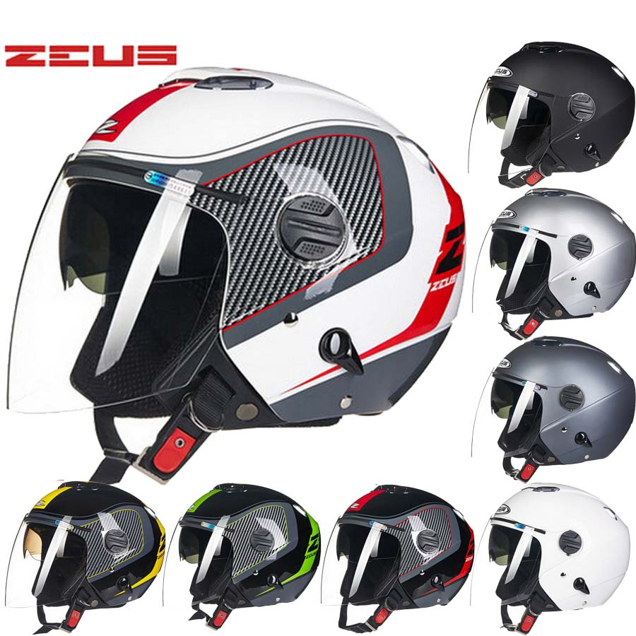 2016 New Taiwan ZEUS dual lens Half face motorcycle helmet ABS motorbike electric bicycle helmets sunscreen Seasons 202FB 2017 new yohe half face motorcycle helmet yh 868 abs motorbike helmet double lens electric bicycle helmets for four seasons