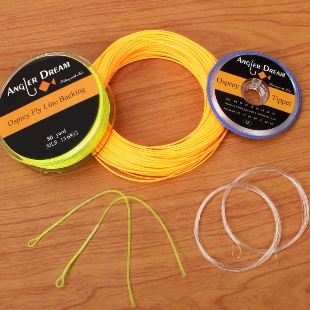 WF 1/2/3/4/5/6/7/8/9F Fly Fishing Line Combo Weight Forward Floating Fly Line 20/30LB Backing Line Tippet Tapered Leader Loop