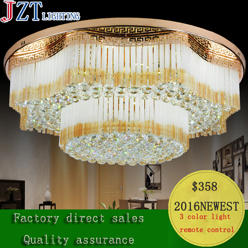 T Large Luxury Circular Crystal Ceiling Light Fashion Modern Lamps For Bedroom Living Room LED Home Lighting Remote control