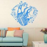 Musical Notes Heart Pattern Micorphone Studio Vinyl Wall Sticker Home Design Art Wall Sticker Living Room