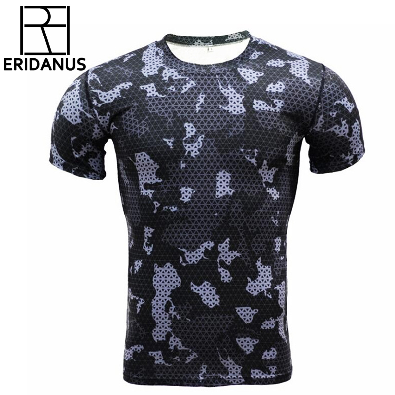 Compressie t-shirts Camouflage Crossfit Fitness Heren Panty's Bodybuilding T-shirt Workout Tops Sneldrogend Merkkleding Heren X520