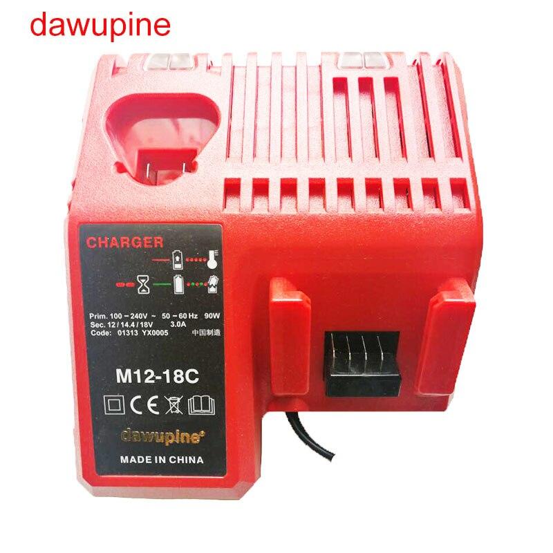dawupine M12-18C Li-ion Battery Charger For Milwaukee 10.8V 12V 14.4V 18V C1418C 48-11-1815/1828/1840 M18 M14 M12 Battery