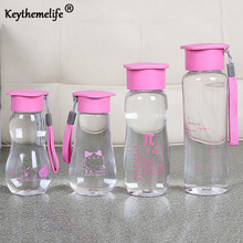 1pc Transparent Water Bottles with Pink Blue lid 280ml 300ml