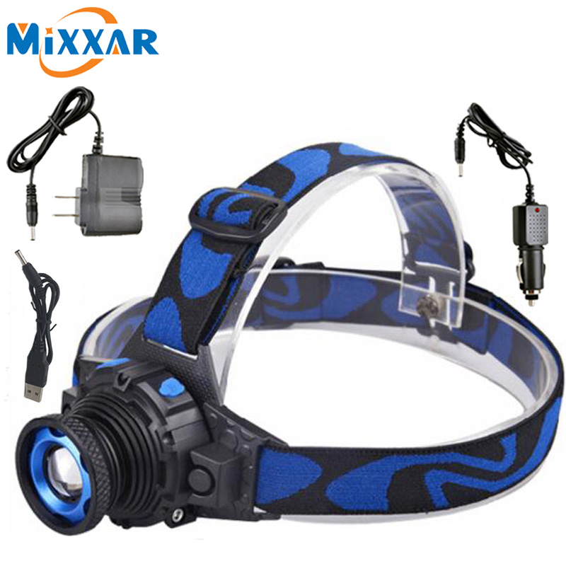 LED Headlamp Cree Q5 Waterproof High Brightness Built-in Lithium Battery Rechargeable Headlight + Charger 3 Modes Zoomable