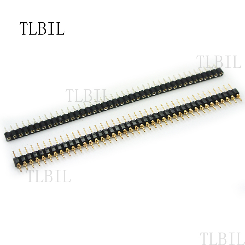 10Pcs Gold Plated 2.54mm 40 Pin Singles Row Straight Round Pin Header/<Strips
