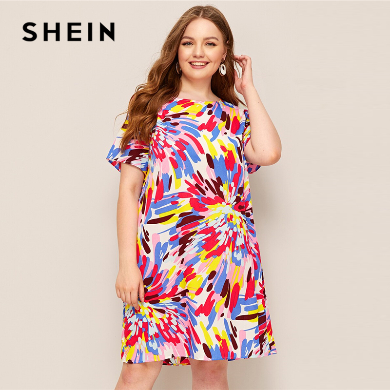 US $10.0 45% OFF|SHEIN Plus Size Multicolor Splash Print Tunic Dress 2019  Women Summer Casual Straight Round Neck Short Sleeve Shift Plus Dresses-in  ...