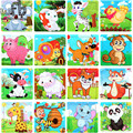 Wood Puzzle 9 Pieces Child Jigsaw Puzzle Funny Educational Toys Animals Pattern Styles intelligence toys