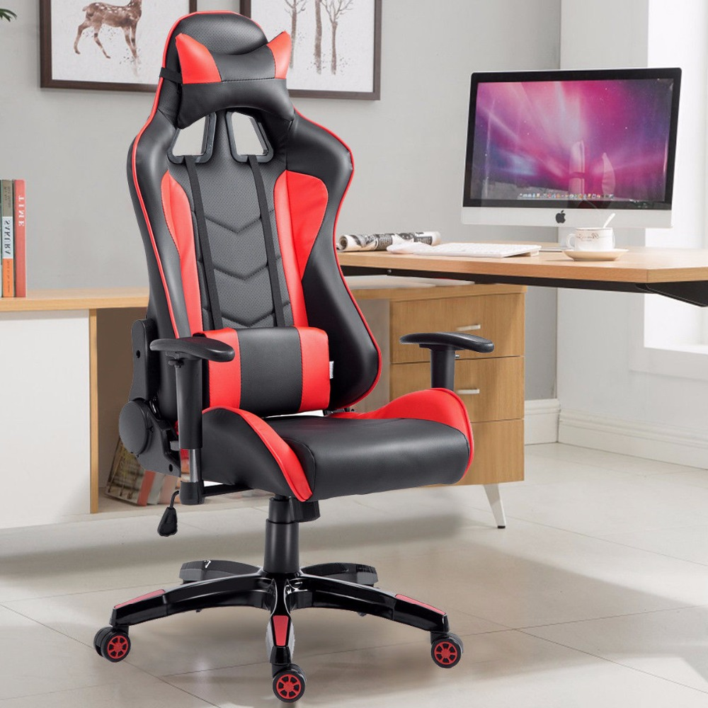 Goplus High Back Executive Racing Reclining Gaming Chair Swivel PU Leather Office Computer Chair Ergonomic Game Chairs HW53863 240337 ergonomic chair quality pu wheel household office chair computer chair 3d thick cushion high breathable mesh
