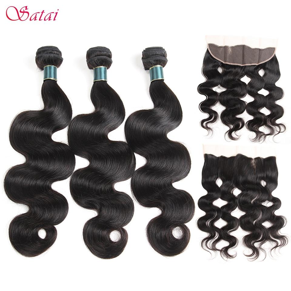 Satai Brazilan Body Wave Human Hair 3 Bundles With Frontal Natural Color Brazilian Hair Frontal With Bundles Non Remy Hair