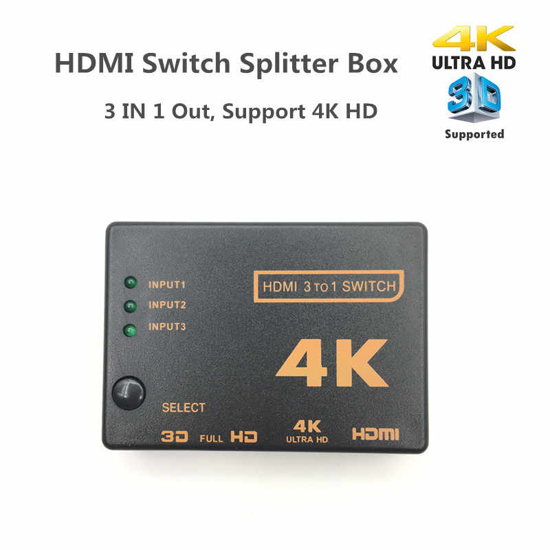 HDMI Switch 3 Port 4K * 2K Switcher Splitter Kotak Ultra HD untuk DVD HDTV untuk Xbox untuk PS3 PS4 HDMI Converter