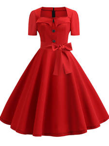 Pinup Dresses Robe Rockabilly-Swing Party Elegant 60s Retro Vintage 50s Red Plus-Size