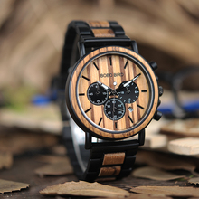 BOBO BIRD Watch Men Metal and Wooden Case Auto Date Male Sport Wristwatch Accept Logo Customize B-P09