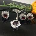 Joyería de moda Waterdrop W Chapado En Oro Circón de Cristal Anillo Colgante de Collar de Joyería de Los Pendientes Para Las Mujeres 6 Colores