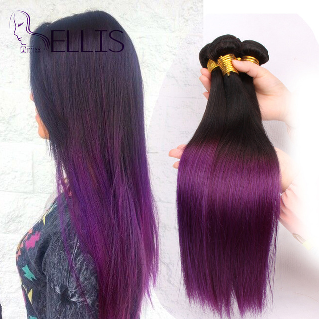 Ombre Hair Extensions Two Tone Brazilian Purple Weave Straight 10