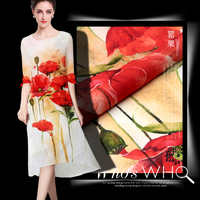 Floral Print Fabric Silk Shirt Dress Linen Fabric Printing Orange Poppy Flowers 110x140cm