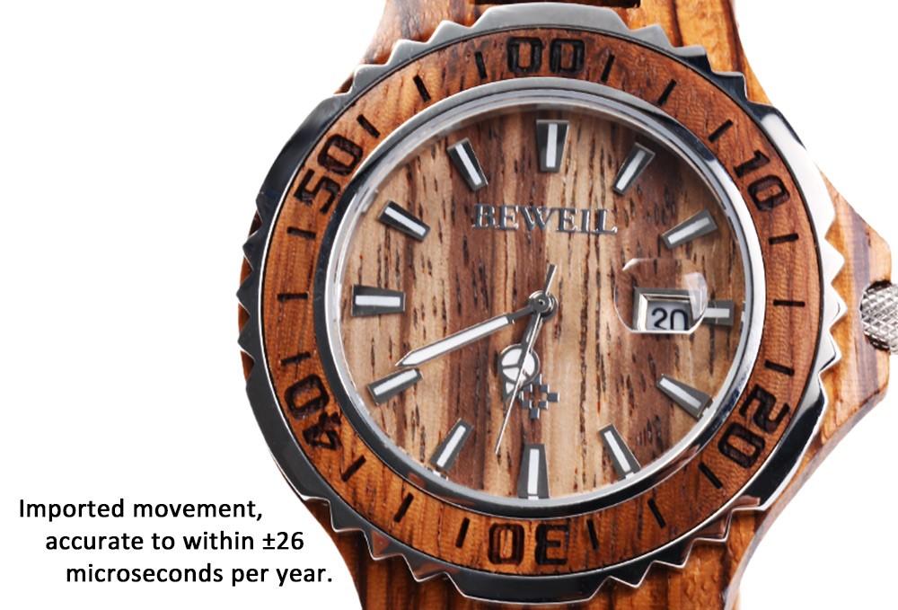 BEWELL 17 Luxury Brand Wooden Men Quartz Watch with Luminous Hands Calendar Water Resistance Analog Wrist watches reloj hombre 4