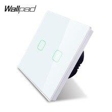 Wallpad k3 용량 성 2 갱 led 터치 조 광 기 스위치 4 색 강화 유리 패널 벽 전기 빛 더블 스위치 영국 eu