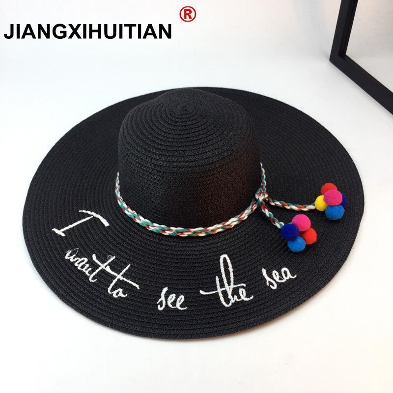 2018 Hot Big Brim Ladies Summer Straw Hat Simple Hats For Women Shade Youth Letter Embroidery Sun Hat Beach Caps Free Shipping