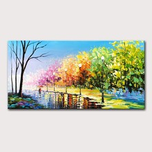 Mintura Oil Paintings on Canvas Handmade Living Room Forest Corridors and Lovers Art Hand Painted Wall Sticker Poster No Framed(China)