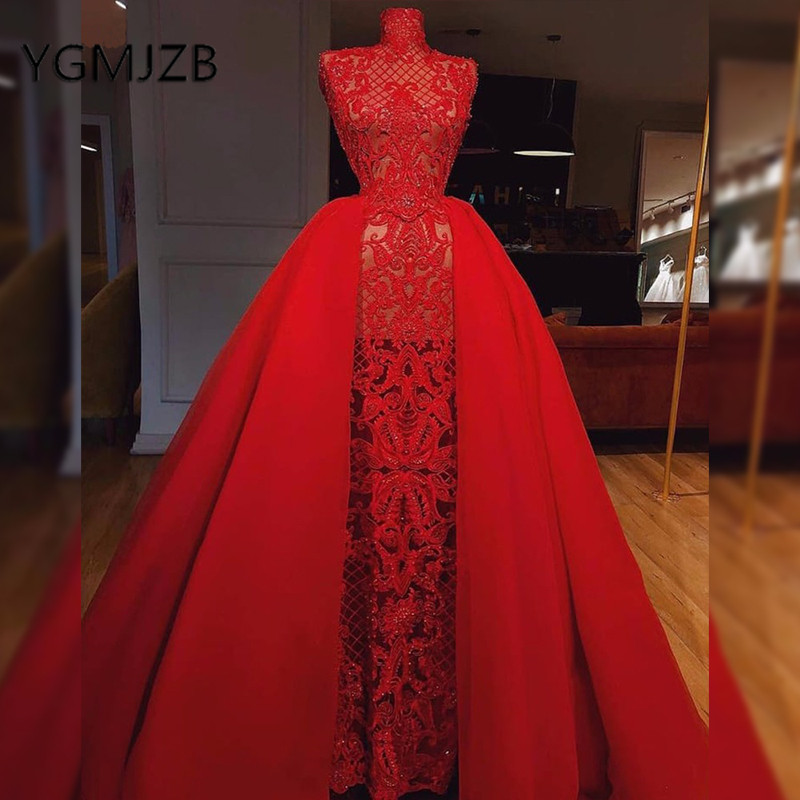 Long Lace Prom Dresses 2019 Mermaid Detachable Train High Collar Red Evening Dresses Saudi Arabic Women Formal Dress Party Gown