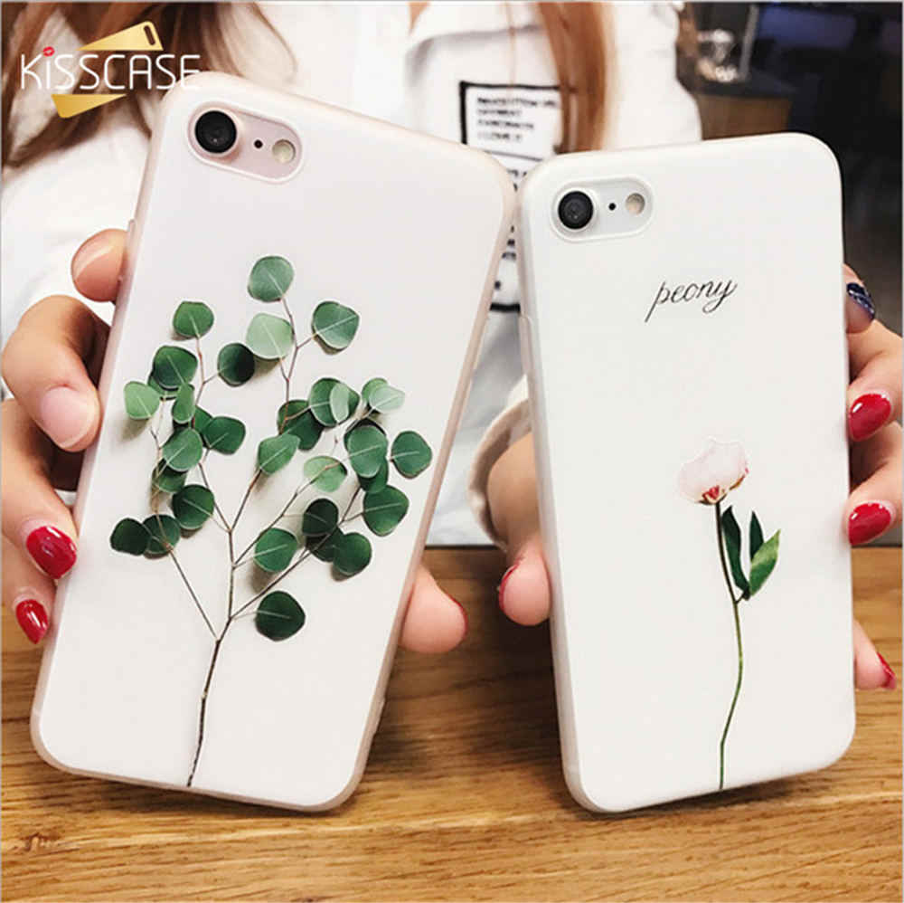 KISSCASE funda de relieve 3d para iPhone 5 5S SE 6 6 S 7 Plus fundas Cute planta hoja Ultra cubierta delgada suave de TPU para iPhone 5S Capa