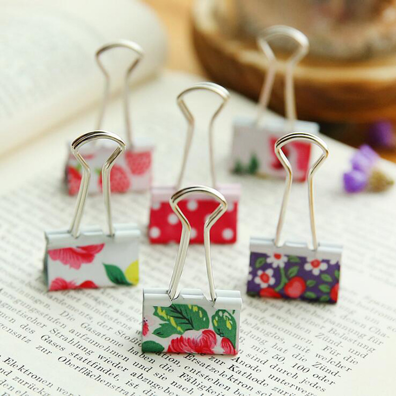 10X Fresh Floral Smile Metal Binder Clips Notes Letter Paper Clip Office School Supply Metal Bookmark Student Stationery
