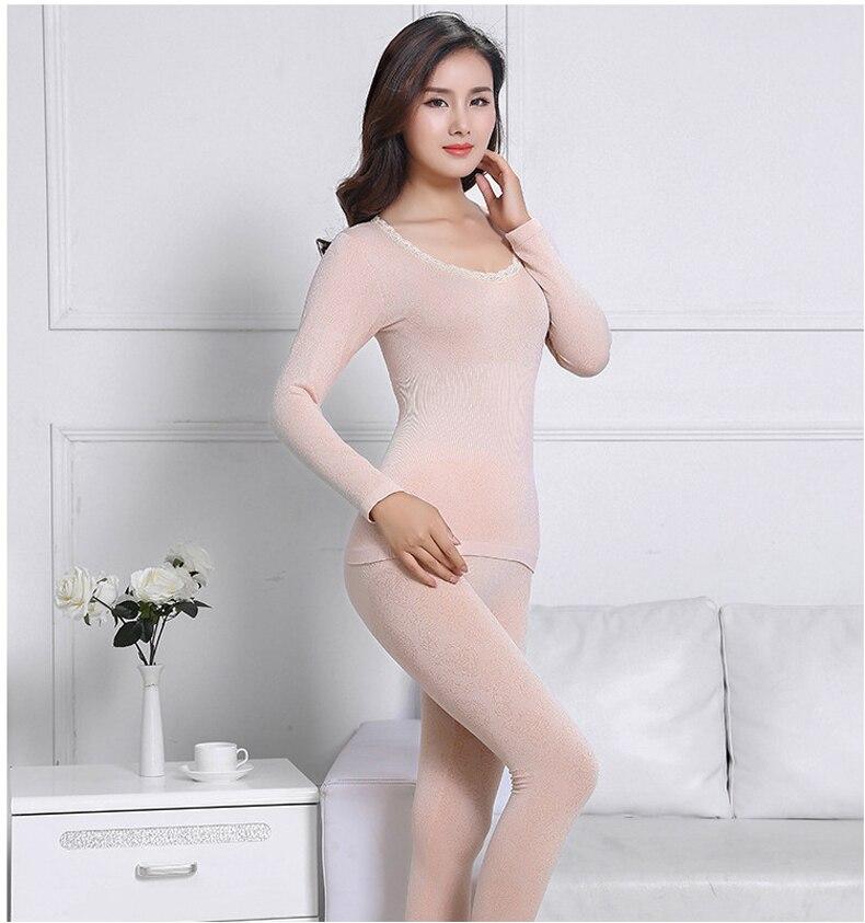 Queenral Sexy Warm Thermal Underwear Women Winter Thermal Underwear Seamless Long Johns Breathable Ladies Slim Underwears Sets  29