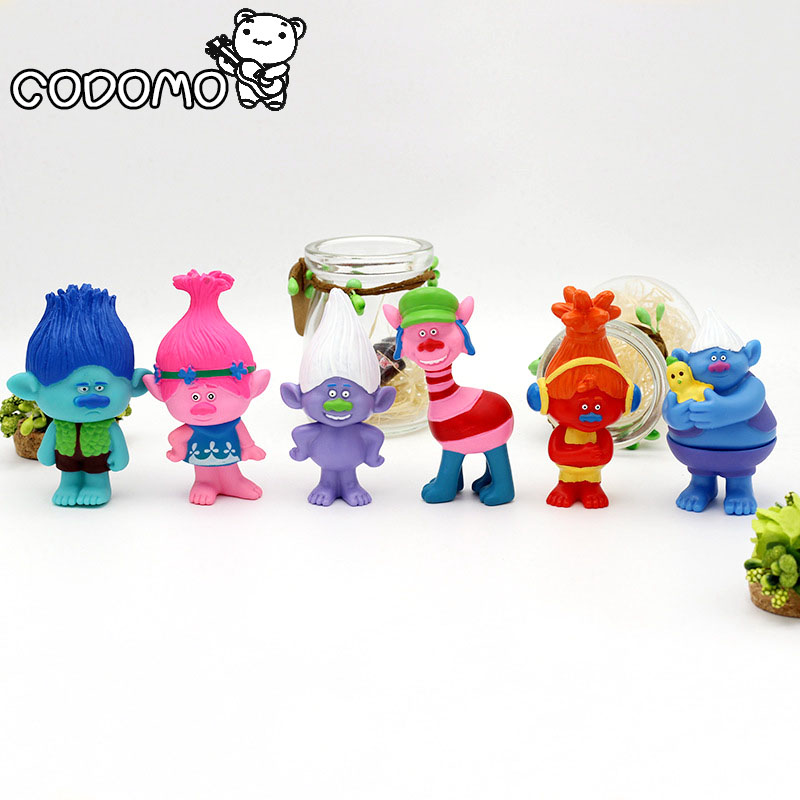 2017 6pcs Trolls Anime Action PVC Model Figure Home Car Party Decoration Man/Women Gift Toy Set 6pcs set disney trolls dolls action figures toys popular anime cartoon the good luck trolls dolls pvc toys for children gift