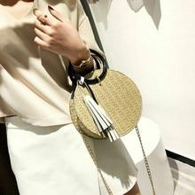 2019 Fashion Designer Women Small Straw Bag Woven Round Rattan Handbag Crossbody Shoulder Bags