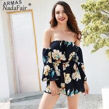 Nadafair Slash Neck Boot Cut Floral Print Summer Casual Jumpsuit 2017 New Off Shoulder Sexy Overalls