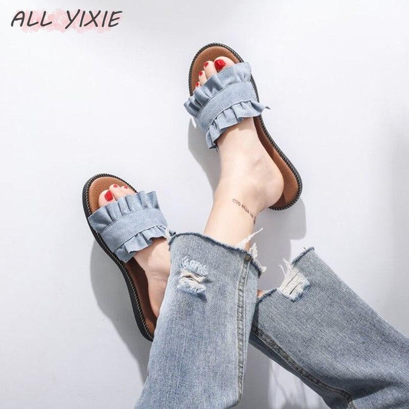 ALL YIXIE 2019 Hot Summer Fashion Women Slippers Denim Canvas Black Beige 3 Colors Casual Outside Beach Female shoe Flip Flops