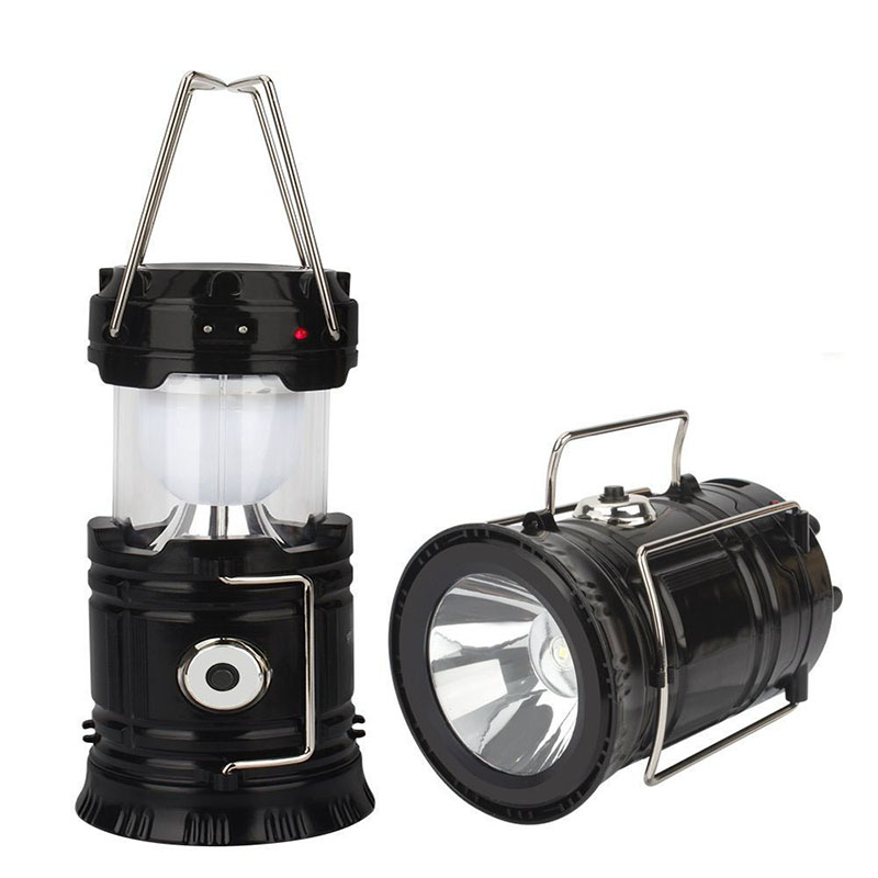 Outdoor Camping Lantern Lamp Solar Flashlight Rechargeable Hiking Accessories Tent Handheld Flashlight Camping Fishing Light