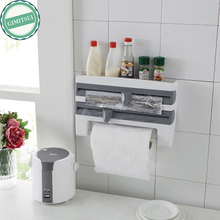 Mulifunction Plastic Wrap Tissue Foil Holder Cutter Device Storage Rack Dispenser and Spice Home Organizer Paper Towel Holder