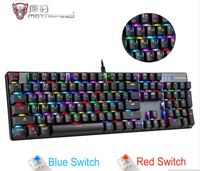 Motospeed CK104 Gaming Mechanical Keyboard Russian English Red Switch Blue Metal Wired LED Backlit RGB Dota 2 Overwatch gamer
