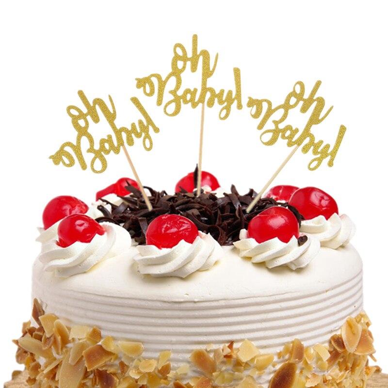 10pcs/bag Oh Baby cake topper Happy Birthday Cupcake Cake Toppers Kids oh baby Gift Wedding Baby Shower Party Baking DIY Xmas