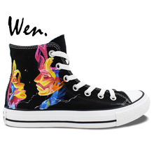 Wen Design Custom Hand Painted Shoes Design Custom MUSE Men Women's High Top Black Canvas Sneakers for Gifts
